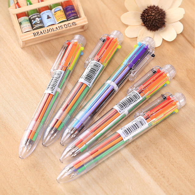 6 In1 Color Stationery Creative School Supplies New Arrival Novel Multicolored Ballpoint Pen Function