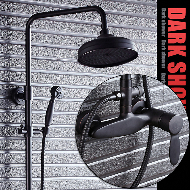 Bathroom Rain Shower System with Hand Shower, One Handle Control, Oil Rubbed Bronze / Black, Solid Brass, Heavy Duty