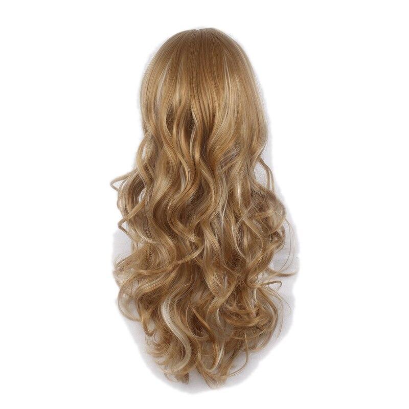 Similler Для женщин длинные вьющиеся жаропрочных Косплэй Искусственные парики светлыми волосами выделения