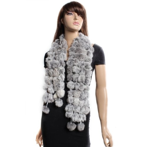 MYTL Rabbit Fur Soft Winter Wear Collar Neck Warmer Scarf Wrap Shawl Gray