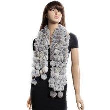 MYTL Rabbit Fur Soft Winter Wear Collar Neck Warmer Scarf Wrap Shawl Gray