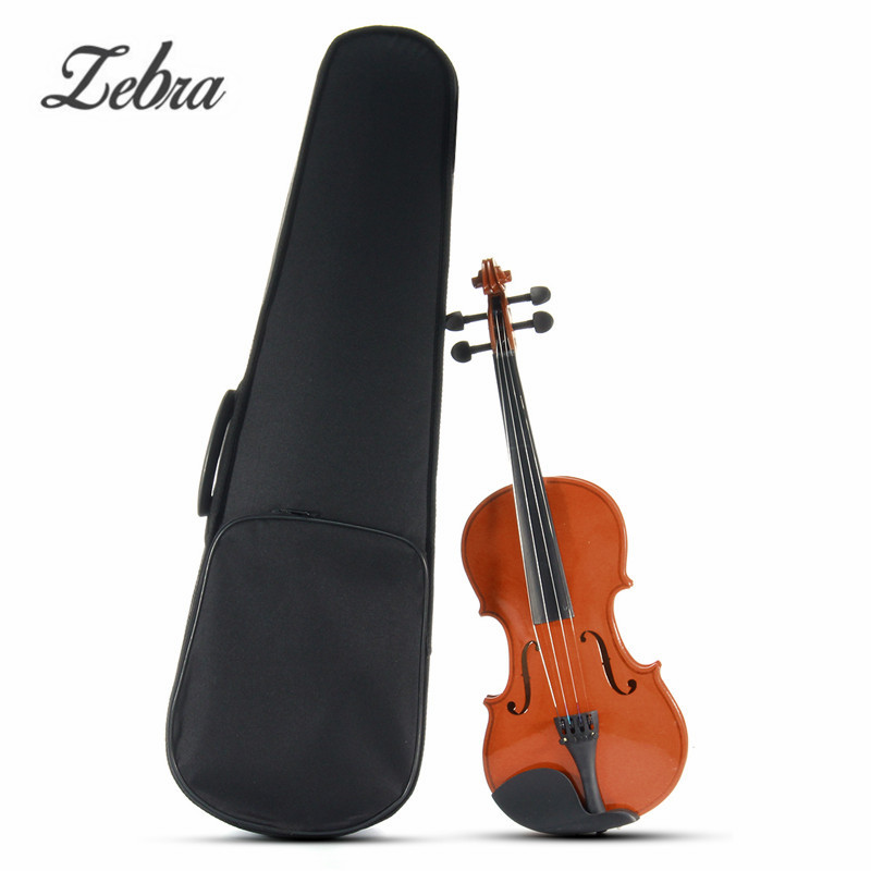 Zebra 3/4 Natural Basswood 4 Strings Acoustic Violin with Violin Case Cover Bow For Musical Stringed Instrument Lover 4 4 violin fiddle stringed instrument musical for kids student beginners high quality basswood body steel string arbor bow rosin