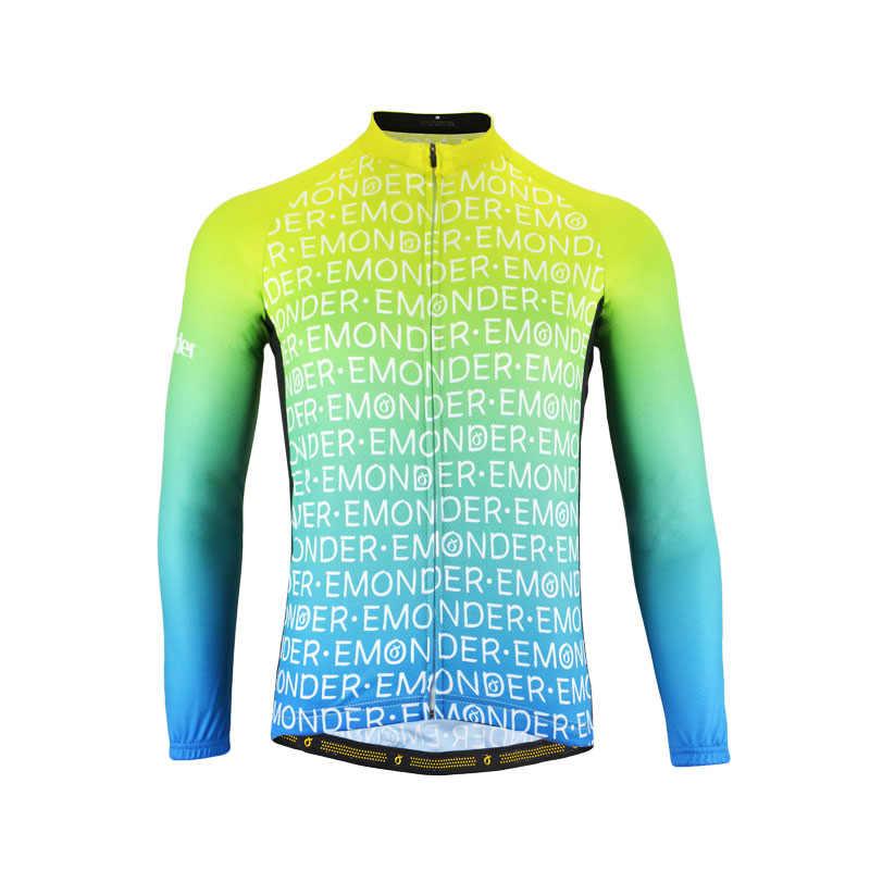 EMONDER 男性サイクリングジャージ 2019 プロチーム秋 MTB ロードバイクロングシャツジャージ通気性自転車 DH サイクリング服