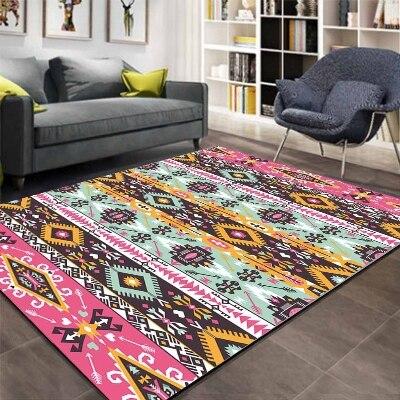 Else Aztec Ethnic Pink Blue Geometric 3d Pattern Print Non Slip Microfiber Living Room Decorative Modern Washable Area Rug Mat