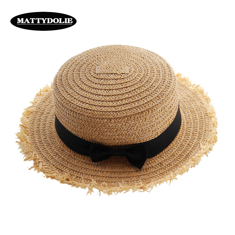 MATTYDOLIE Straw hat bow visor woman summer Korean sunscreen holiday travel casual wild