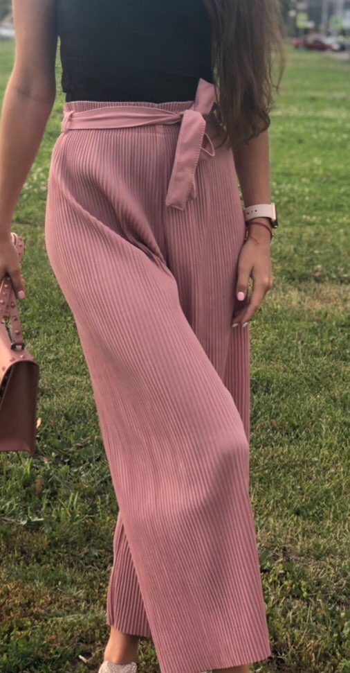 Summer Chic Style Regular Ankle Length Wide Leg Pants Solid Pleated Trousers Spring High Waist Striped Drawstring Pant photo review