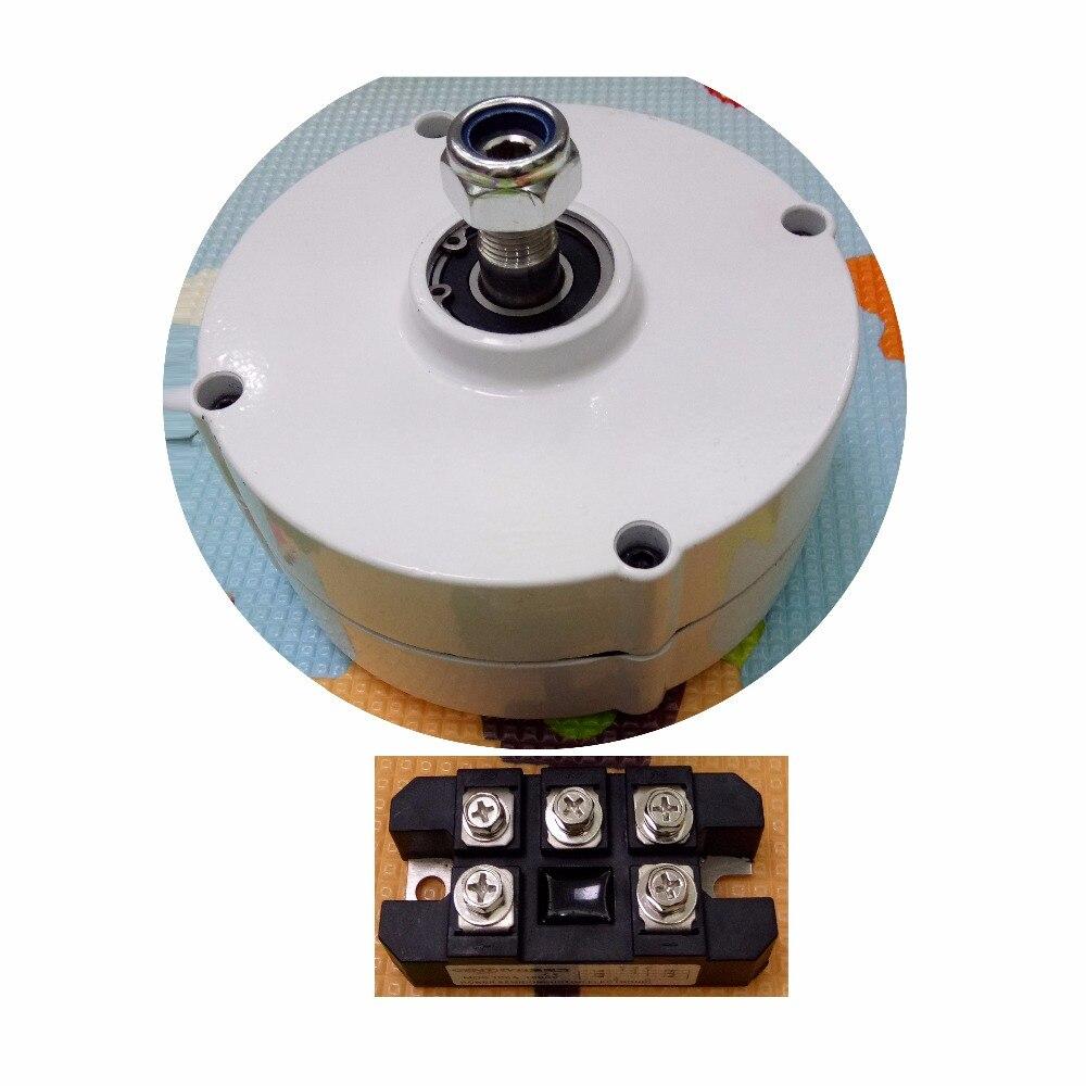 100 W 750 RPM 12 V 24 V terre rare aimant permanent éolienne générateur alternateur + redresseur (convertir AC en DC)