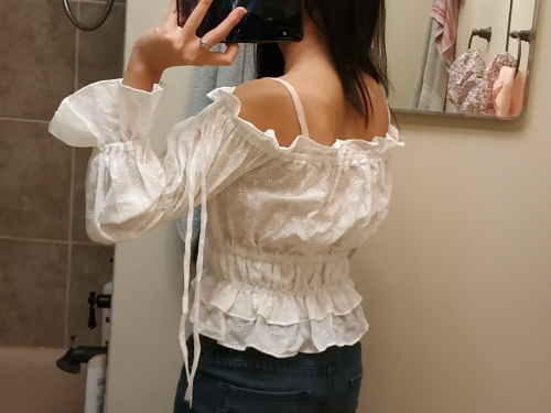 Vintage White Embroidery Women Crop Tops And Blouse New Off Shoulder Slash Neck Blouse Girl Lantern Sleeve Shirt photo review