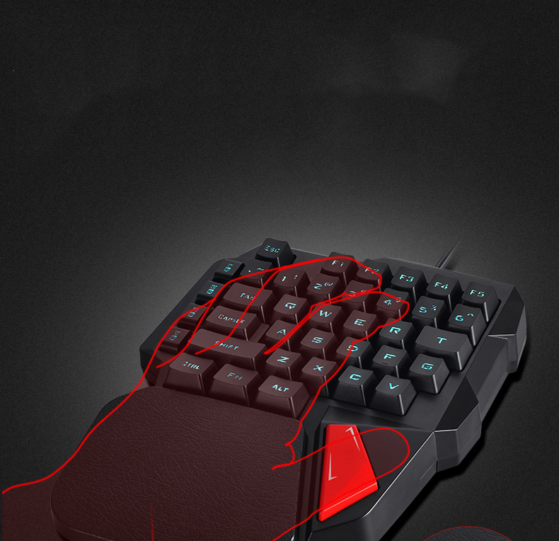 wired pc gaming keyboard mechanical feeling one handed keyboard for gamer player left hand. Black Bedroom Furniture Sets. Home Design Ideas