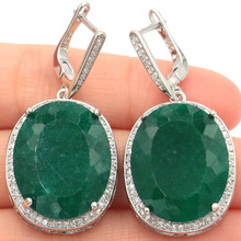 Big 17.5g Oval Gemstone 22x18mm Real Green Emerald White Cubic Zirconia Womans Party Silver Earrings 40x20mm