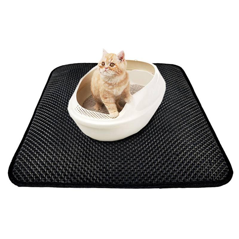 Katzenstreu Matte EVA Doppel-Schicht Katzenstreu Trapper Matten mit Wasserdichte Untere Schicht Schwarz Atmungsaktive Löcher