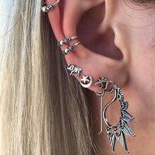 7Pcs/Set Women Vintage Elephant Peacock Ear Clip Statement Stud Earrings Jewelry