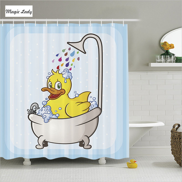 Shower Curtain Duck Bathroom Accessories Swimming Water Droplets Rainbow  Art Collection Blue Yellow Home Decor 180