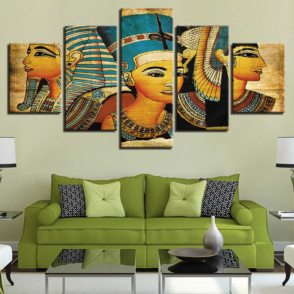 Vintage Pictures Canvas Printed Poster 5 Panel Pharaoh Of Ancient Egypt Paintings Home Decor For Living Room Artwork Wall Art