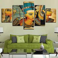 Vintage Bilder Leinwand Gedruckt Poster 5 Panel Pharao Von Alten Ägypten Gemälde Home Decor Für Wohnzimmer Kunstwerk Wand Kunst