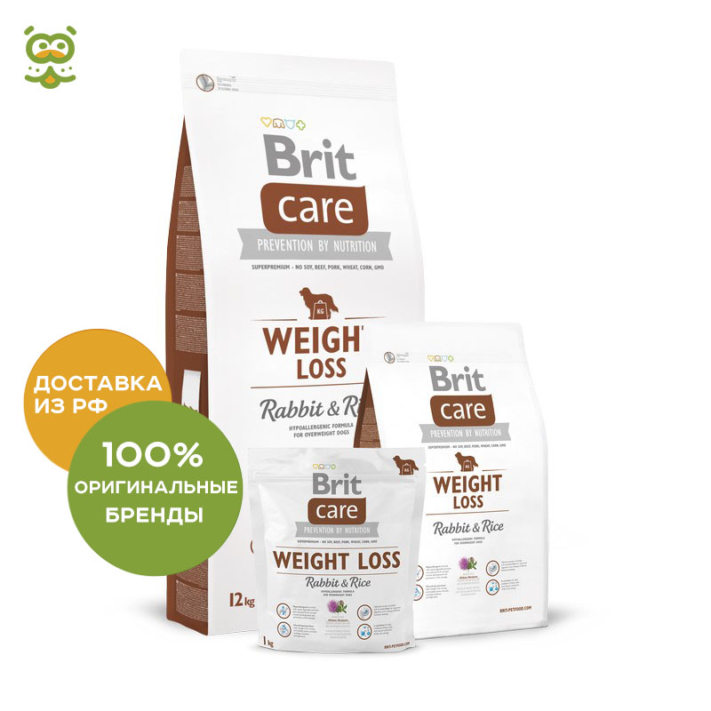 Food Brit Care Adult Weight Loss Rabbit & Rice dog all over weight, Rabbit and rice, 1 kg. консервы monge dog monoproteico fruits pate rabbit rice