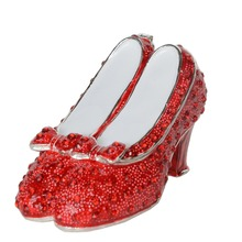wizard of oz gifts ruby slipper bejeweled jewelry box silver plated fashion shoe trinket box metal
