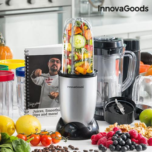 InnovaGoods Glass Blender with Recipe One Touch 250W Made of ABS PP and Stainless Steel Comfortable and Easy to Use Food Blender image
