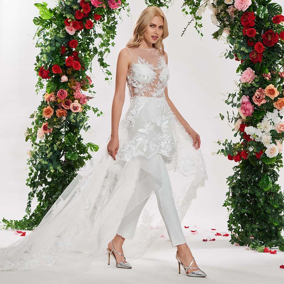 Image 2 - Dressv elegant irregual lace stitching wedding dress scoop neck sleeveless lace floor length simple bridal gonws wedding dresses-in Wedding Dresses from Weddings & Events