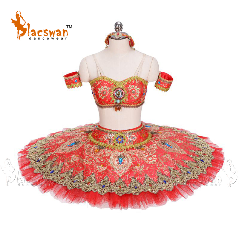 La Bayadere Stage Costume Gamzatti Variation Professional Ballet Tutus BT697 Two-Pieces red Platter Tutu Oriental Arabian Dance