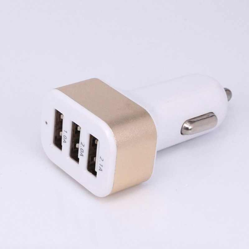 Portable 3-Port USB Car Charger Random Color Dropshipping 12V/24V 2.1A & 1A Quick Charging Triple Ports Auto Charger Adapter