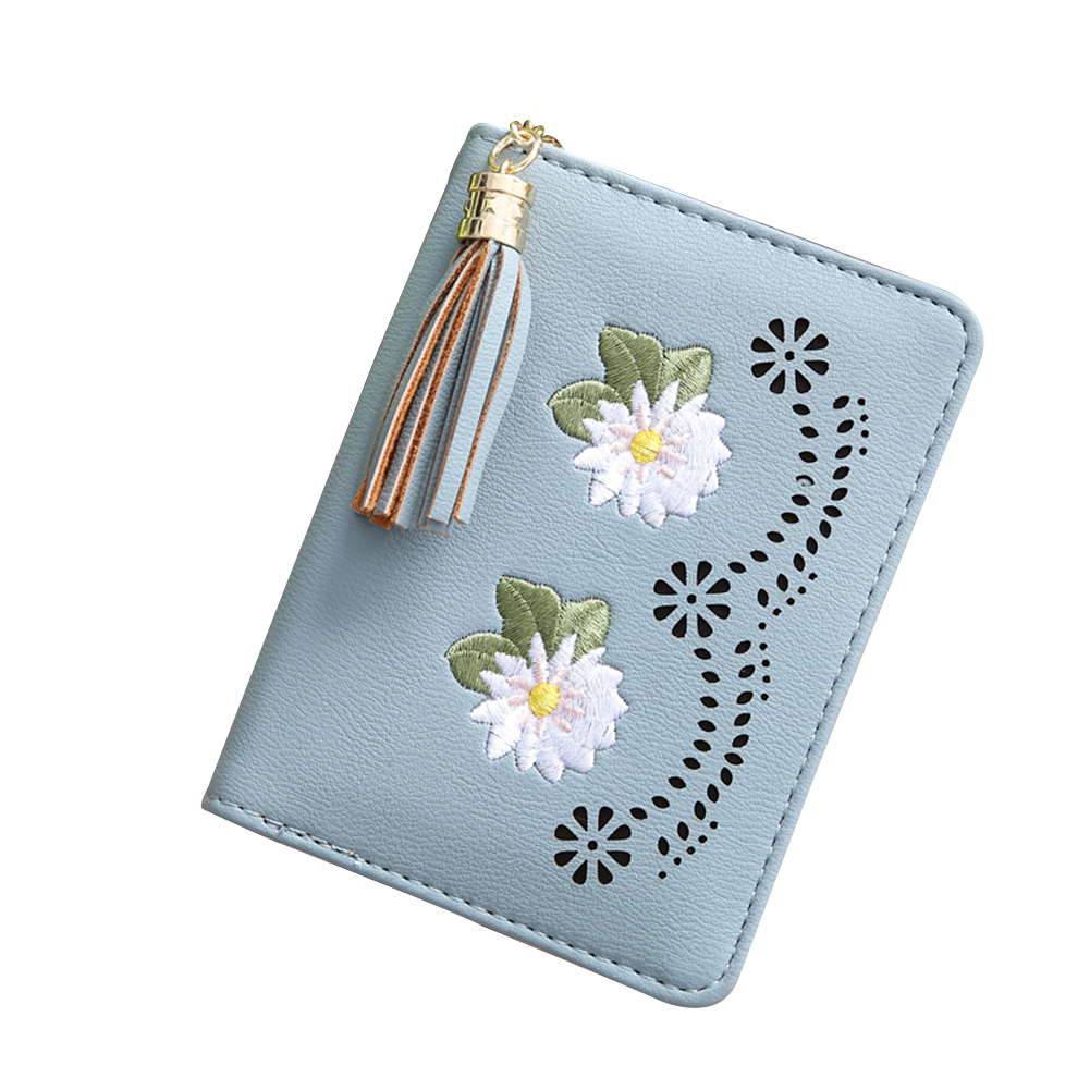 Portable Retro Credit Card Case Flower Tassels Change Cash Money Holder Wallet