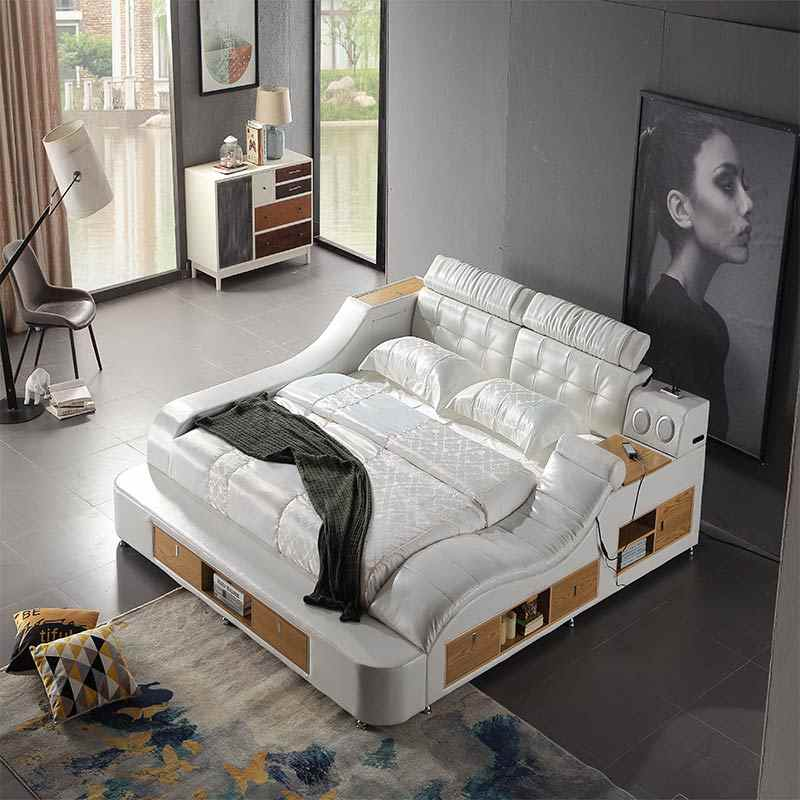 Global hot sell intelligent furniture Multi-functional genuine leather smart bed