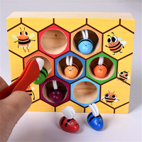 Eva2king Educational Montessori Wooden Toys Beehive Board Game Bee Hive Parent child Interaction Gifts Toys For Children