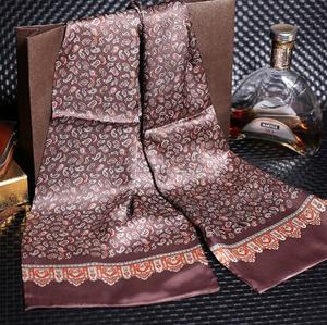 Image 2 - 送料無料メンズロングプリントデザイン100% 純粋な絹のスカーフネックスカーフ
