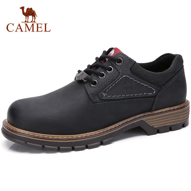CAMEL Men Tooling Shoes Autumn Geunine Leather Martin Shoes Mens Trend Fashion Outdoor Casual Mens Shoes