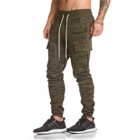 2018 Autumn Winter New Cotton Gyms Zipper Big Packet Embroidery Pants Men workout bodybuilding casual camouflage sweatpants