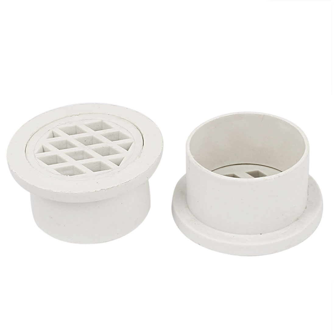 UXCELL Basement Toilet White Pvc Round Strainer Floor Drain Cover 2Pcs White