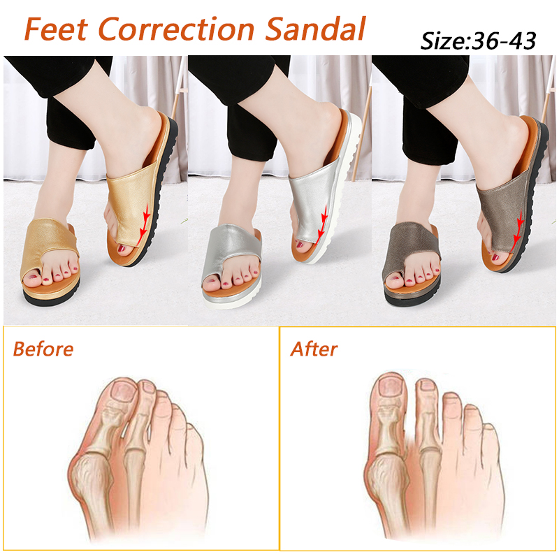 Women PU Leather Shoes Comfy Platform Flat Sole Ladies Soft Big Toe Correction Sandal Orthopedic Bunion Corrector Shoe Brush big toe sandal