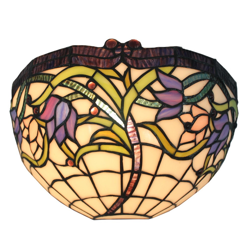 12 inch Stained Glass Handcrafted Iris Floral Wall Lamp Wall Sconce ...