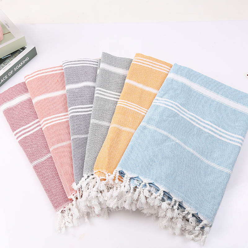Striped Cotton Turkish Bath Towel With Tassels Thin Travel Camping Bath Sauna Beach Gym Pool Blanket Absorbent Easy Care(China)