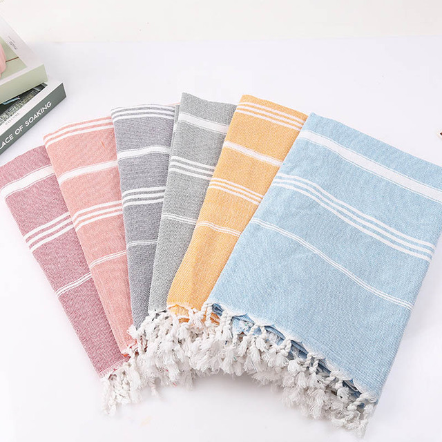 Striped Cotton Turkish Bath Towel With Tassels Thin Travel Camping