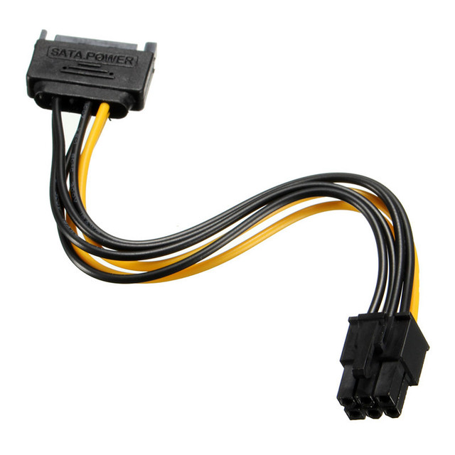 High quality Power Cable SATA 15 Pin to PCI E 6 Pin HDD Power ...