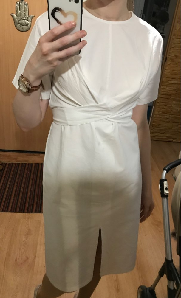 Women'S Summer White Cotton Short Sleeve Bandage Bodycon Sexy Dress Plus Size Solid Mid Calf Long Casual Dresses photo review