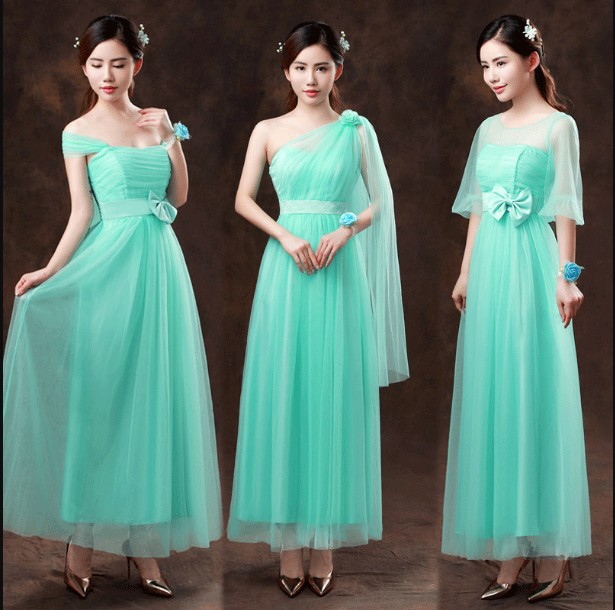 2018 Long Turquoise Bridesmaid Dresses one shoulder Cross Cross Short Prom Party Gown Vestido Sweet Memory