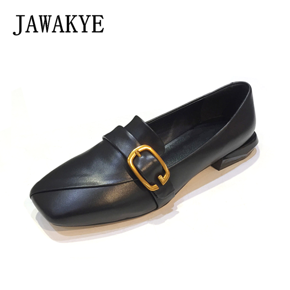 2018 New Genuine Leather Flat Shoes Women Square Toe Metal Buckle low heel black Loafers ladies shoes Casual Women flats men and women casual canvas flat heel flats loafers shoes