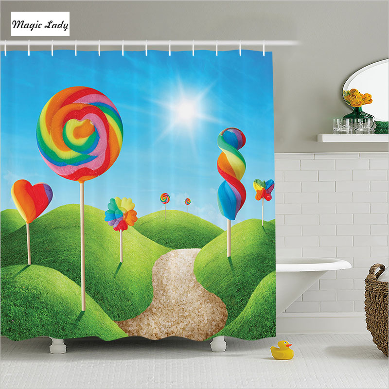 Shower Curtain Bathroom Accessories Cartoon Fantasy Candy