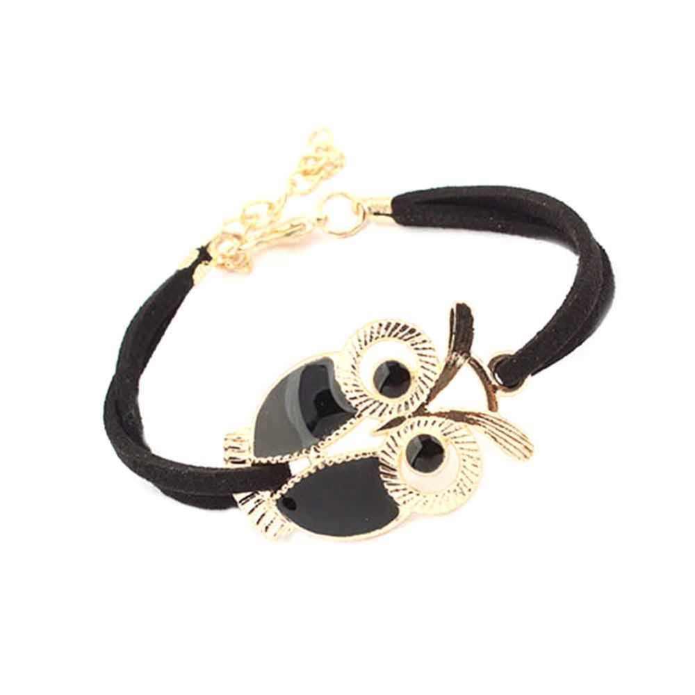 Горячая Новая мода дикие ретро влюбленные милые золотые Сова тотем позолоченный кожаный шнур браслет, женская бижутерия оптом и в розницу