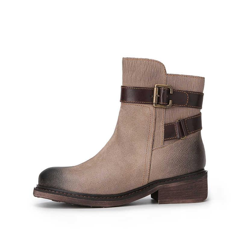 Kemer askısı el-boyalı botlar kadınlar için İtalya tarzı yeni tasarım patik bayan doğal deri kare topuk Zip kadın ayakkabısı