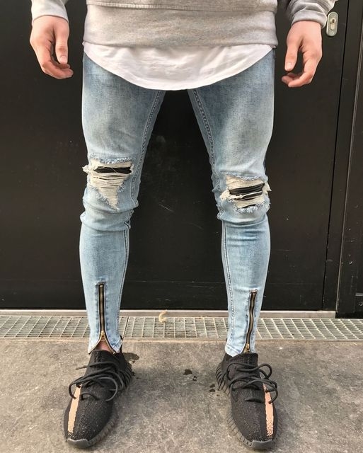 79dc1ecf Mens Skinny Stretch Denim Designer Distress Ripped Repair Stylish Jeans  Fashion Patchwork Leather Pleated Vintage Trousers