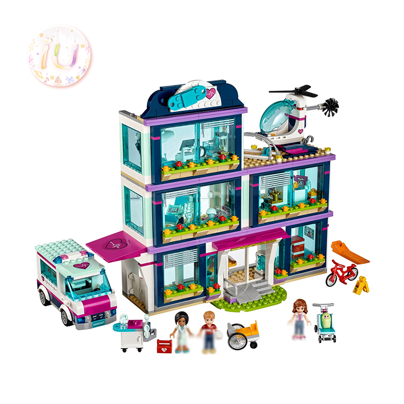 BELA 10761 Girls Series Heart lake Hospital Building Blocks Educational Toys For Children Birthday Gifts 887Pcs Compatible 41318