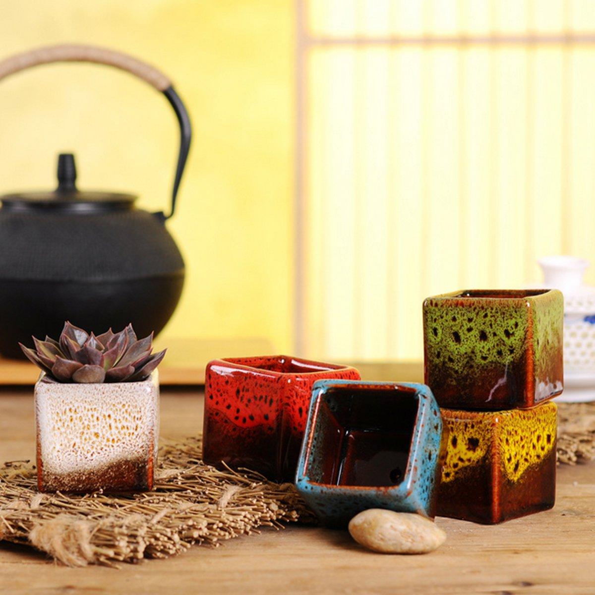 compare prices on ceramic herb planter online shopping buy low 5pcs set mini ceramic succulent cactus planter herb flower vase box glazed porcelain pot garden