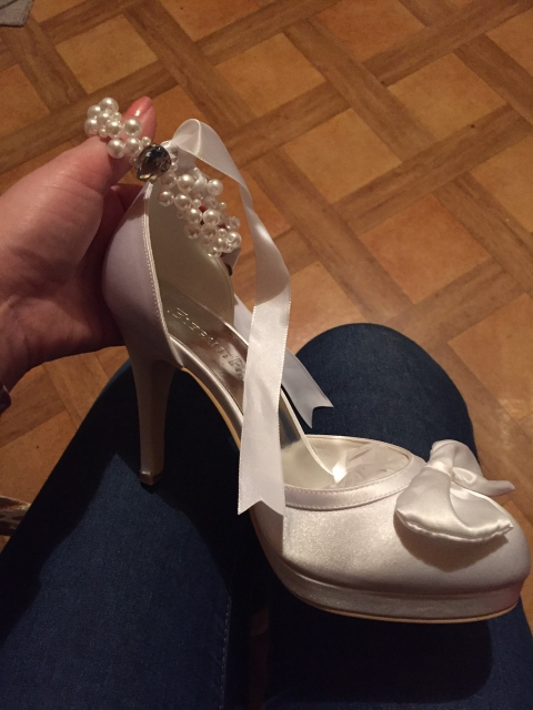 Woman Shoes Wedding Bridal White Ivory High Heel Platform Round Toe Pearls Ankle Strap Bow Satin Lady Prom Evening Pumps EP11074