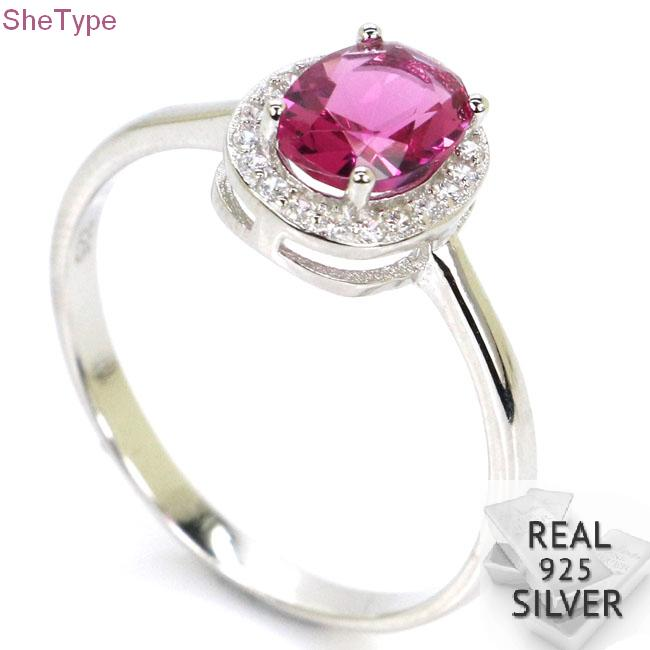 10x9mm 1.8g Top Pink Tourmaline Cubic Zirconia Real 925 Solid Sterling Silver Rings
