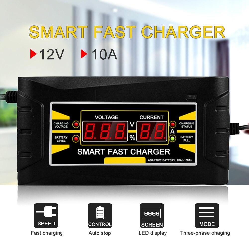 Volle Automatische Smart 12 v 10A Blei Säure/GEL Batterie Ladegerät w/LCD Display UNS Stecker Smart Schnelle batterie Ladegerät Auto Zubehör