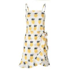 Fashion Summer Women Chiffon Dress Casual Print Sexy Strapless Sleeveless Spaghetti Strap Ruffles Female Beach Short Dress 2XL 5